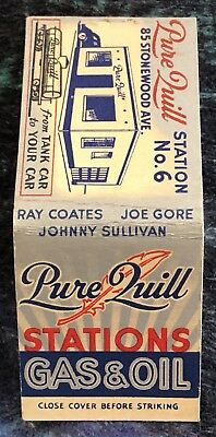 Vintage Pure Quill Gas Oil Train Tank Car Matchcover