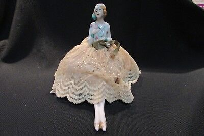 Antique Half Doll Flapper on Pincushion with legs