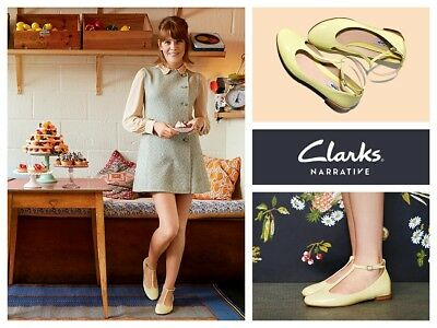 b512f00f537a NEW CLARKS FESTIVAL Glee Womens Pale Yellow Patent Leather Shoes ...