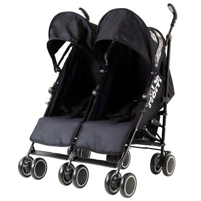 Baby Double Twin Stroller Pram Pushchair Raincover Changing Bag Buggy