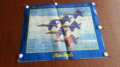 """1989 United States Navy USN Blue Angels Autographed Poster DREAMS OF BLUE 19x24"""""""