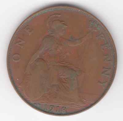 """1918 """"KN"""" KING GEORGE V ONE PENNY 1d - COIN - KN - Kings  Norton mintmark a"""