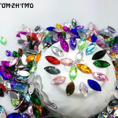 7*15mm Sewing Crystal AB Flatback Rhinestones Sew On Crystals Stones Horse Eye A