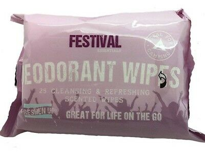 Festival Deodorant Wipes Freshen Up! Great for Life On The Go 25 Scented Wipes