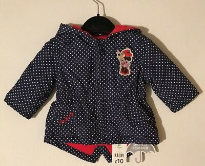 Disney Minnie Mouse Coat Shower Resistant 3-6 Months New With Tags