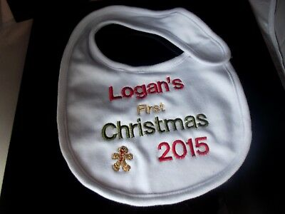 Personalised My First Christmas Baby Bib Xmas Any Name Embroidered  2018