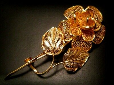 Lovely Vintage, Top Decorated Gilt Silver 925 Filigree Flower Brooch!!!