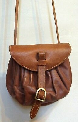 Real Leather BAG PURSE Messenger LONG STRAP BROWN SMALL Retro OUR TRIBE