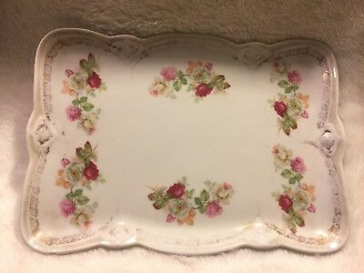 """Antique 9"""" Porcelain Vanity Tray With Delicate Pink/White Roses Germany EUC"""