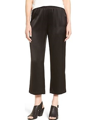 NWT Eileen Fisher Sz L/P Black Silk Crepe Back Satin Straight Cropped Pants $258