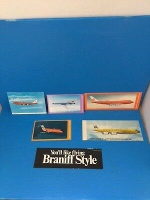 Vintage Braniff International Postcards  (5 Each) + Bumper Sticker