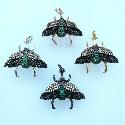 1pc 24x26mm gold plated Cz micro curculio Charm  Pendant  DIY Jewelry Findings