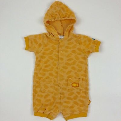 Vintage Carters Hooded Fish One Piece Romper Orange Terry Cloth 6-9 Months