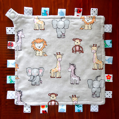 Elephant - Taggie Taggy Tag Security Blanket Toy Comforter dummy clip holder