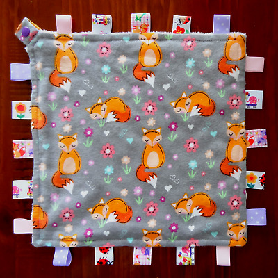 Sleepy Fox Taggie Taggy Tag Security Blanket Toy Comforter dummy clip holder