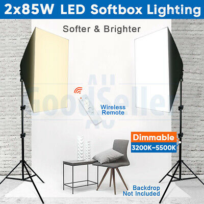 Photography Soft Box Studio 2X85W Dimmable LED Bulbs Softbox Lighting Stand Kit