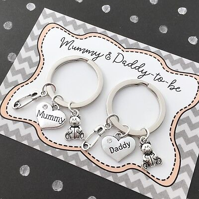Mum-to-be & Dad-to-be pregnancy keyrings - baby shower gift