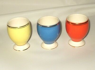 Vintage Egg Cup Retro Orange Blue Yellow Romania Ceramic Egg Cups