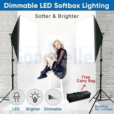 Softbox Lighting LED Dimmable Video 2x 85W Studio Photo Soft Box Light Stand Kit
