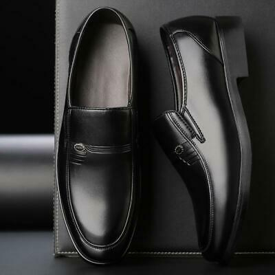 Mens Leather Dress Shoes Slip On Formal Loafers Father Comfy Wear Size DY2201