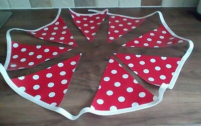 2 METRES LONG SKY BLUE WITH WHITE SPOT HANDMADE OILCLOTH BUNTING