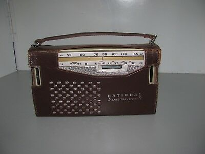 Rare Near Mint Vintage National 2 Band 9 Transistor Radio Model AB-210 Working