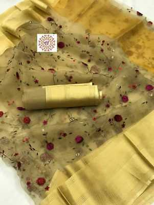 Indian Organza Silk Saree with Beautiful Thread Embroidery Sari Traditional wear