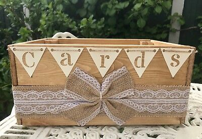 Vintage Shabby Chic Style Wooden Wedding Card Crate Post Box Hessian Bow Bunting
