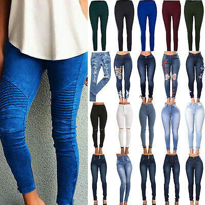 Womens Casual Destroyed Ripped Jeans Trousers Stretchy Long Leggings Denim Pants