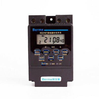 1x 220VAC Microcomputer Timer Switch Programmable Controller Digital LCD KG316T