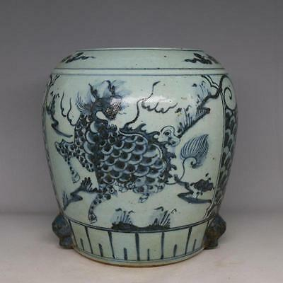 Chinese Old Blue and White auspicious Kylin Pattern Porcelain Tri-Foot Jar