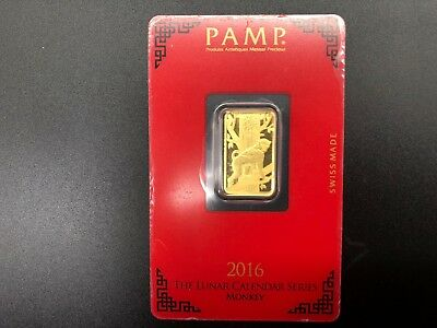 2016 P.A.M.P LUNAR SERIES  - MONKEY -  5gram Fine Gold 999.9 - SWISS MADE -
