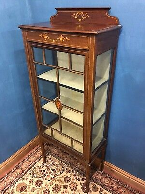 Edwardian Mahogany Inlaid Single Door Glass Display Cabinet - Delivery Available