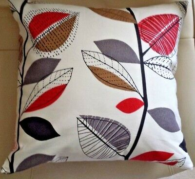 Cushion Cover Handmade with Prestigious Autumn Leaves Red Berry fabric