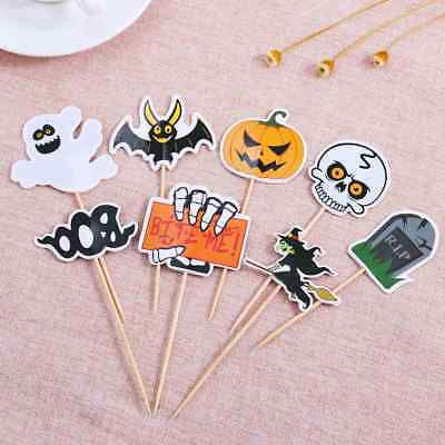 48PCS Halloween Cupcake Toppers Pumpkin Witch Design Picks Muffin Toppers