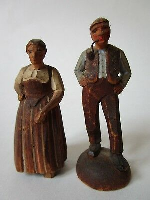 Antique Pair Hand Carved Hand Painted Wooden Man & Woman German Figures