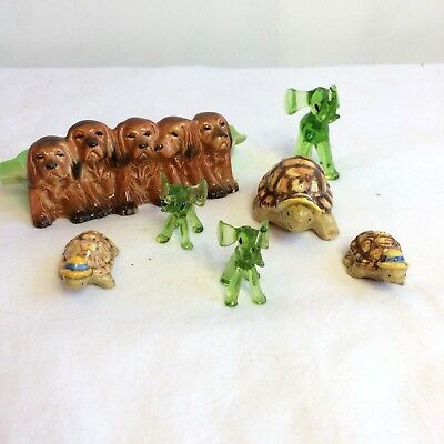 Ceramic Glass Figurines Animals Slight Damage Dogs Turtles Elephants Job Lot