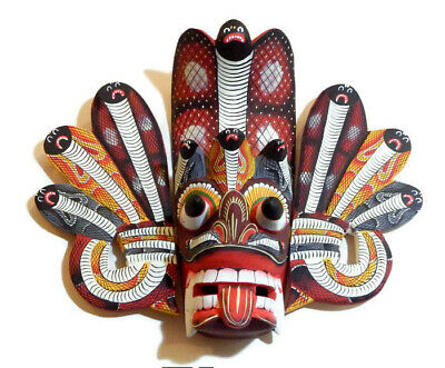 """Vintage Perfectly Hand Carved Wood Wall Art Decor Bird Tiki Mask Sculpture 10"""""""