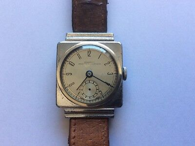 VINTAGE WRIST WATCH ART DECO CHROME SWISS DOSSOR Weston Super Mare