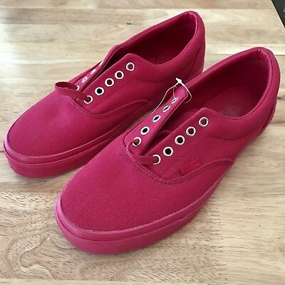 NEW All Red Vans Shoes UK Size 9 Off The Walls - Old School BMX Skate