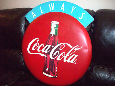 "Rare 27"" Round Metal Coca-Cola Coke Button Sign Metal Coke Button Sign"