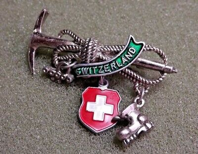 Switzerland Lapel Pin With Dangles Mountainering Gear Axe Rope Boot White Cross