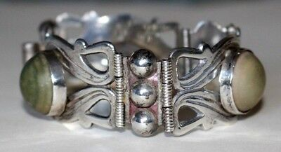 Heavy Vintage Silver Mexican Bracelet With Large Green Natural Stone Cabochons.