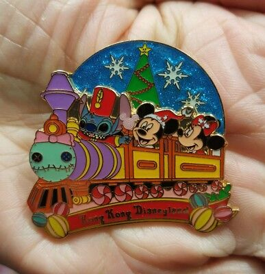 Disney Pin HKDL Stitch Scrump Holiday Train Mickey Minnie Spinning Element Rare