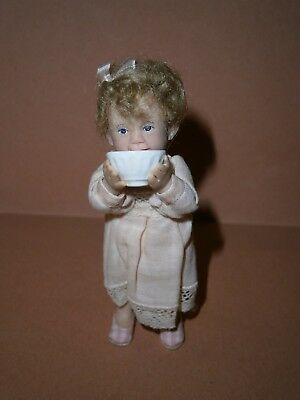 "Vintage Catherine Muniere miniature doll 1/12"" scale dollshouse doll baby girl"