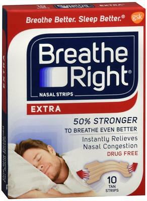 Breathe Right Nasal Strips Extra 10 Tan Strips One Size Adult Sealed Box (2 Box)
