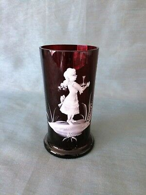 Vintage 1950's Mary Gregory Hand Painted Ruby Red Glass Vase