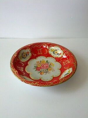 Vintage 1971 England Daher Metal Bowl Red with Colorful Flowers Gold Scrolling