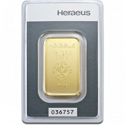 Lingot or  20 grammes or pur 999,9/1000 Heraeus numéroté gold bar 20 grams