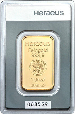 Lingot or  1 once or pur 999,9/1000 Heraeus numéroté gold bar 1 oz